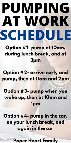 These pumping at work schedule options will help you come up with your own schedule for going back to work after baby! Get these tips and more about when to start pumping, how to pump, creating a freezer stash and more. These tips will also help you create a back to work pumping schedule that will work for you and that will help maintain a healthy breastfeeding milk supply.