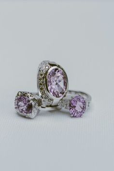 White gold, Lavender Amethyst, diamond rings. Rings by Eska Claire  www.eskaclairejewellery.co.za