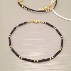 Diy Jewelry Ideas : Black and gold Simple bracelet gold minimal jewelry tiny bead layering bracelet