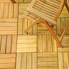 For the outdoor patio: do-it-yourself slatted acacia tiles let you build a hardwood floor on your patio, balcony or walkway in a matter of hours - no glue, screws or hammers needed. Easy to remove, re-arrange and re-lay, each tile snaps together for easy installation.