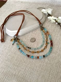 Sundance Style Gemstone Multi Strand Necklace, Adjustable Beaded One of a Kind Diy Jewelry Necklace, Jewelry Crafts, Beaded Jewelry, Handmade Jewelry, Beaded Necklace, Washer Necklace, Sundance Jewelry, Leather Jewelry, Leather Bracelets