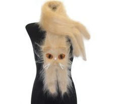 Knitted Scarf / Cream Persian cat / Fuzzy Soft Scarf by TaniaSh