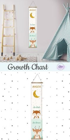 Custom Height Ruler, Personalized Growth Chart on Canvas, Woodland Boy Room Wall Decor, Boho Nursery Wall Art, Mint and Gold Print for Kids Toddler Room Decor, Nursery Room Decor, Nursery Design, Nursery Wall Art, Fox Nursery, Kids Decor, Decor Ideas, Gift Ideas, Woodland Room