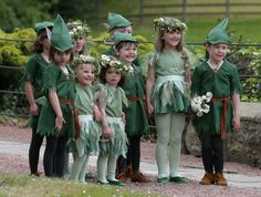 Flower girls and page boys pose for a photograph at Lady Melissa Percy's wedding to Thomas van Straubenzee 22 June 2013