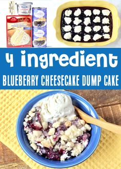 Blueberry Dump Cake Recipes - Easy Cheesecake Cobbler! This dreamy dessert with Sweet Blueberries, Rich Cream Cheese, and a Buttery Crumble Topping is just what your week needs! Go grab the recipe and give it a try! Recipes Using Cake Mix, Dump Cake Recipes, Dessert Cake Recipes, No Cook Desserts, Fruit Recipes, Delicious Desserts, Yummy Food, Blueberry Dump Cakes