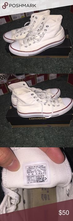 7b1f71b3cb7413 White converse high top chuck taylor Size 8 men s us 8 10 condo normal wear
