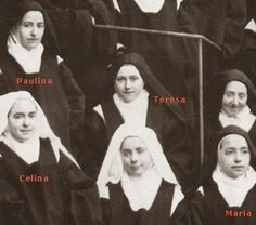 The Martin sisters and below St. Thérèse is their first cousin, Marie Guerin.