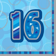 """So excited to finally find some guy appropriate 16-year birthday stuff for the boy! This dealer has a good number of options other than just the napkins: 16 Happy 16th Birthday Blue Sparkle 6.5"""" Party Tableware Napkins . Unique,http://www.amazon.com/dp/B004779T3G/ref=cm_sw_r_pi_dp_991ftb1PJPZ85C35"""