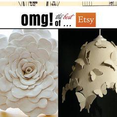 ceramic flower and wool felt lamp