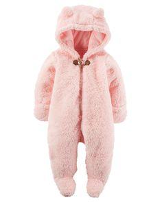 Combinaison d'hiver à capuchon en sherpa pour bébés filles   Carter's OshKosh Canada