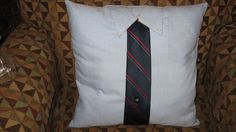 Pillow I made from thrift store dress shirt and tie.