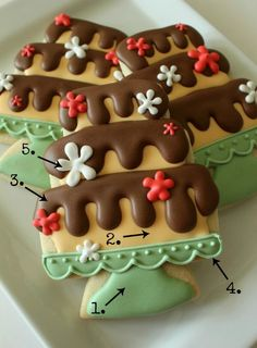 Cake Stand Cookies: cake cookie cutter & a triangle cookie cutter Cake Fancy Cookies, Iced Cookies, Cute Cookies, Cookies Et Biscuits, Yummy Cookies, Cupcake Cookies, Sugar Cookies, Gorgeous Cakes, Pretty Cakes