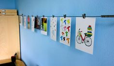 Inspiration wire--creative way to display photos and kid art.