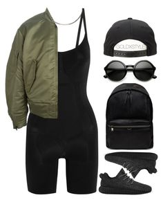 """LEGEND."" by goldxstyle ❤ liked on Polyvore featuring moda, SPANX, adidas, Maison Margiela, adidas Originals, Yves Saint Laurent, women's clothing, women, female e woman"