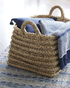 Explore the Serena & Lily storage collection today and discover beautiful designer storage bins and woven storage baskets to organize your home. Seagrass Storage Baskets, Tumblr Rooms, Cottages By The Sea, Basket Decoration, Storage Bins, Warm And Cozy, Decorative Pillows, Straw Bag, Wicker