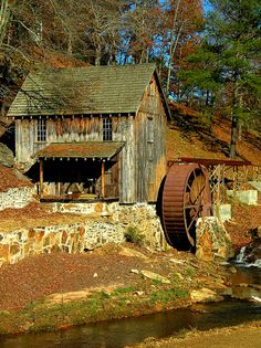 Rustic Sixes Mill In Georgia During Autumn