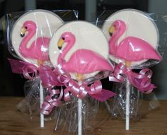 12 Flamingo Chocolate Lollipop Party Favors by DaniellesSweetSide