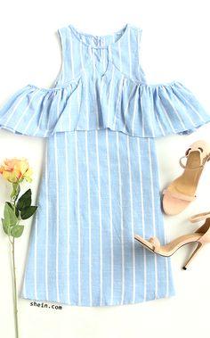 Blue Striped Cutout Ruffle Cold Shoulder Dress