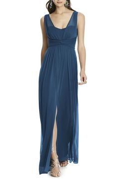 Longer version of the blue party dress Emma Stone wears to the Gatsby party at the beginning of La La Land Slate Blue Bridesmaid Dresses, Bridesmaids, Alfred Sung, Blue Party Dress, Sheer Chiffon, Nordstrom Dresses, Glamour, Gowns, Casual