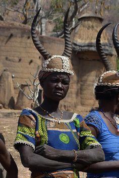 Woman in traditional headdress. Koutammakou, Togo.