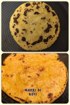 Makki Di Roti is a flat, unleavened Punjabi bread made from corn meal, primarily eaten in Punjab region of the Indian subcontinent. Like most rotis in the Indian subcontinent, it is baked on a tava. Vegan Bread, How To Make Bread, Cornbread, Breads, Vegan Recipes, Vegetarian, Tasty, Indian, Homemade