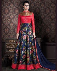1. Blue And Pink Zurich Silk Anarkali suit 2. Pink silk bodice with dull golden thread embroidery  3. Floral Printed silk anarkali Flare With border 4. Comes with matching dupatta and Churidar 5. Can be stitched upto 42 chest size