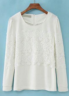 White Long Sleeve Zipper Lace Blouse US$24.18
