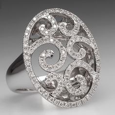 Diamond Scroll Ring