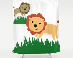 Shower Curtain Lions - Bathroom Decor - Home Decor - Child's Bathroom decor - Lion Art -  Made to Order
