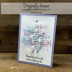 Video showing how to do background. Dragonfly Dreams & Detailed Dragonfly Thinlits - all from Stampin' Up! Making Greeting Cards, Greeting Cards Handmade, Card Making Inspiration, Making Ideas, Bee Cards, Dragonfly Art, Stamping Up Cards, Butterfly Cards, Tampons