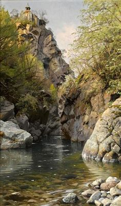 PEDER MORK MONSTED A Mountain Gorge, Meran, South Oil on Canvas 33″ x 20″