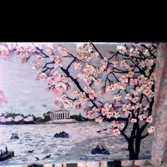 Cherry blossoms hooked rug