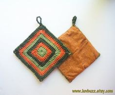 Crochet Trivet in Orange and Green Squares set of two by luvbuzz, $20.00 #crochet #trivet #set #orange #green #sage #rust #burntorange #hotpads #setoftwo #housewarminggift #housewarming #kitchentextiles #home #housewares #textiles #kitchen #handmadegifts #handmadehome #luvbuzz #Etsy #grannysquare #crochetsquare
