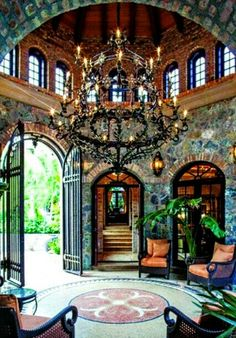 Luxurious Mediterranean Style Home With Elegant Iron Work And Vaulted  Ceiling. Old World Draperies DesignNashville Shipping To You