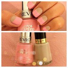 Half Nude and Half Pink Nail Polish