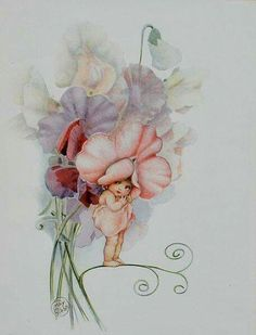 Snugglepot and Cuddlepie were my favourite books as a child. This is Sweet Pea Baby by Cecilia May Gibbs Fairy Pictures, Vintage Fairies, Australian Art, Flower Fairies, Fairy Art, Children's Book Illustration, Vintage Cards, Faeries, Illustrators