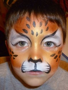 Bronze Cheetah: Orem, UT, USA Denise Cold, the primary artist and owner at Painted Party Face Painting and Body Art, has trained with some of the top face and body painters Cheeta Face Paint, Cheetah Face, Toddler Makeup, Tiger Face Paints, Tiger Face Paint Easy, Cheetah Party, Kids Cheetah Costume, Halloween Makeup, Halloween Face