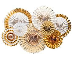 Metallic Gold Party Fans - White and Gold Party Fans - Paper Rosettes - Gold Paper Fan Backdrop - Photo shoot - Gold Party Fans - Pack of 8 Party Kulissen, Fancy Party, Craft Party, Party Games, Party Ideas, Sleepover Party, Work Party, Fiesta Party, Party Shop
