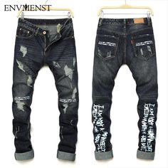 a19c2089dd Envmenst Summer New Fashion Designer Letter Printed Men s Biker Jeans