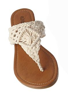 Olivia Miller Womens Crochet Thong Sandals Cream 10 *** More info could be found at the image url.