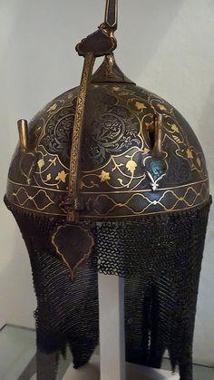 Helmet Persian 1850 CE Qajar Period Steel with gold overlay, via Flickr.