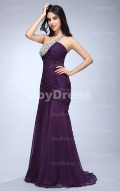 Crystal Sheath One Shoulder Floor-length Dress at www.joydress.co.uk  £69.00❤❤❤❤❤❤