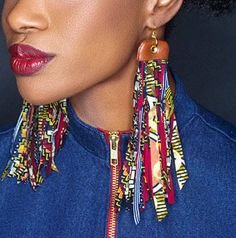 Large Ankara Earrings - Large African Earrings - Shredded Fringe Wax Print Earrings - Ankara Tassel Earring - Delta Sigma Theta Gift