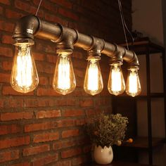 Can hold as many as 5 lights,giving better illumination to your space. Unique pipe shape with adjustable hang chain. Specifications:Type: Pendant. Retro design and Nordic industrial style home decoration.