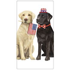 Independence Day Black Lab and Yellow Lab flour sack towel by artist Mary Lake Thompson.