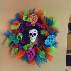 Day of the dead wreath! This one has lights!