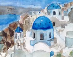 Mykonos, Santorini, John Lovett, New Work, Culture, Cityscapes, Architecture, Gallery, Watercolors