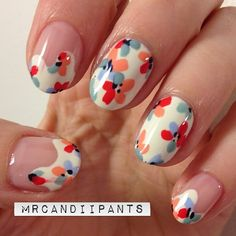 mrcandiipants:    They're not quite as fun as my nails from yesterday, but I'm pretty happy with how these turned out. They aren't exactly what I pictured in my head, but they'll do!    Floral drips!!