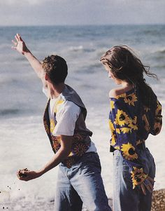 """February 1991. """"Kate [Moss] pairs a blooming blouse with the blues... very sexy."""" In Seventeen magazine."""