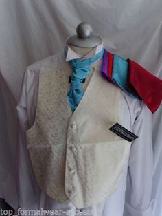 Ivory Boys Silk Years To 10 Years- With Or Without Cravat And Hankie Wedding Waistcoats, Page Boy, Cravat, Brocade Fabric, Branding Design, Ivory, Brand New, Silk, Formal